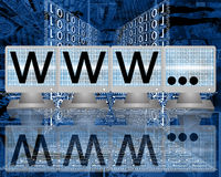 Www on screens of monitors. Abstract image on computers, the Internet, communications and high technology Royalty Free Illustration