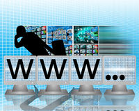 Www on screens of monitors. Abstract image on computers, the Internet, communications and high technology Vector Illustration