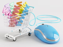 WWW shopping. Shopping carts operated computer mouse - the symbol of www-commerce Royalty Free Stock Photography