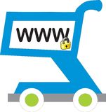 Www shopping cart with lock Royalty Free Stock Image
