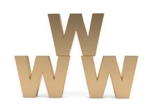 WWW Sign. Isolated on white - 3d illustration Stock Photography