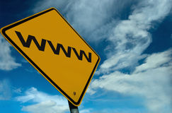 Www sign. An Internet sign, against a stunning sky Royalty Free Stock Images