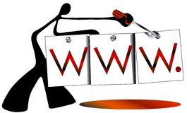 Www sign internet. Shadow man check knot  on www sign graphic design Stock Image