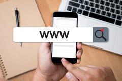 WWW strony internetowej Online Internetowej strony internetowej wyszukiwarki komputerowy związek Zdjęcia Royalty Free