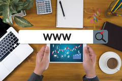 WWW strony internetowej Online Internetowej strony internetowej wyszukiwarki komputerowy związek Zdjęcie Stock