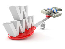 WWW text with money and teeter Royalty Free Stock Images