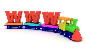 WWW train. Red letters WWW on the toy train Royalty Free Stock Photo