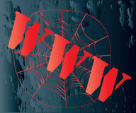 WWW Web. Iconic WWW on a web over a grunge background Royalty Free Stock Photos