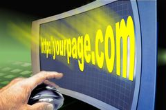 Www web internet http screen. Large TV used as a www web internet http screen royalty free stock image