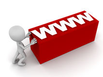 Www. Or web online concept, little 3d man pushing around a red label box, on white background Royalty Free Stock Photos