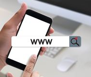 WWW-Web-pagina van Website Online Internet computerbrowser Verbinding Royalty-vrije Stock Afbeeldingen