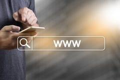 WWW-Web-pagina van Website Online Internet computerbrowser Verbinding Stock Foto's