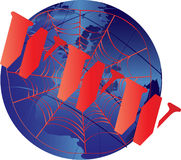 WWW Web World. Iconic WWW on a web over an illustration of the world Royalty Free Stock Images