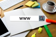 WWW-Website-on-line-Internet-Webseitencomputer Browser-Verbindung Stockfotos