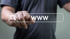 WWW-Website-on-line-Internet-Webseitencomputer Browser-Verbindung Stockbild