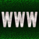 WWW with Won on binary code Royalty Free Stock Images