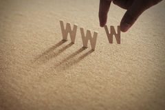 WWW wood word on compressed board Royalty Free Stock Photography
