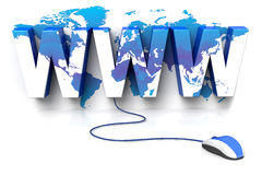 Www World. 3D rendered illustration of a computer mouse connected to a WWW sign, displaying a world atlas Stock Photos