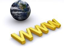 WWW world. Concept render with gold text Stock Image