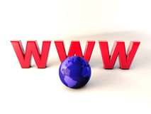 Www world 3d. Illustration of www text and world Stock Image