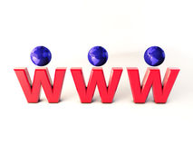 Www world 3d. Illustration of www text and world Royalty Free Stock Photo