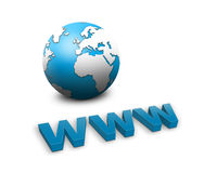 Www and a world globe Royalty Free Stock Photos