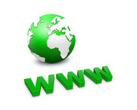 Www and a world globe Stock Image