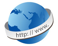 WWW World Globe. Web url wrapped around the world globe illustration Royalty Free Stock Image
