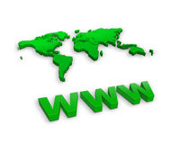 Www and a world map Stock Photos