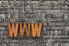 Www - world wide web. Www acronym - internet concept  - text in vintage wood letterpress printing blocks against grunge metal typeset Stock Photography