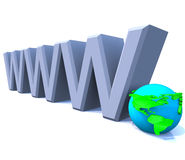 Www World Wide Web Internet with Globe - America. 3D model render of the letters www, representing the World Wide Web Royalty Free Stock Photos
