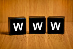 Www or world wide web text on block Royalty Free Stock Photo
