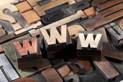 WWW written with antique letterpress type Royalty Free Stock Image