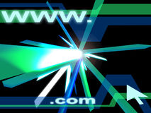 Wwwdotcom. High resolution background Design incorporating 2D and 3D techniques. Symbolizing the .com world of the Web stock illustration