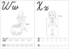 2WX. Cartoon witch and x-rays. Alphabet tracing worksheet: writing A-Z, coloring book and educational game for kids Royalty Free Stock Photos