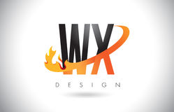 WX W X Letter Logo with Fire Flames Design and Orange Swoosh. Royalty Free Stock Image
