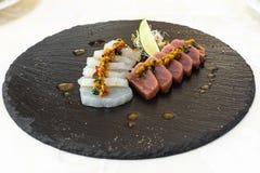 Wyśmienity jedzenie naczynie Restauracja menu rozkaz Wyśmienity naczynie, kreatywnie restauracyjny posiłku pojęcie, haute mod jed zdjęcie stock