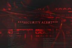 Wyłaniający alarm bezpieczeństwa na komputerze ilustracji