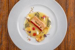 Wyśmienicie apetizer z świeżym warzywem słuzyć na bielu talerzu, nowożytny michelin jedzenie obrazy stock