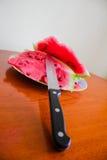 Wyśmienicie arbuz z nożem Zdjęcie Royalty Free