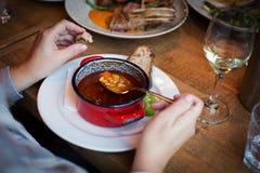 Wyśmienicie, aromatyczny, podlewania Węgierski goulash dla lunchu obrazy royalty free