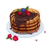 Wyśmienicie bliny nakrywający z czekoladowym kumberlandem i jagodami kłama na talerzu odizolowywającym na białym tle apetyczny ilustracja wektor