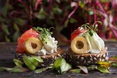 Wyśmienicie canape z łososiem, chałupa ser, oliwka z mikro zielenieje na ciemnym tle Zimna zakąska Zdjęcie Stock