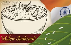 Wyśmienicie Chakkara Pongal remis Świętować Makar Sankranti festiwal, Wektorowa ilustracja royalty ilustracja