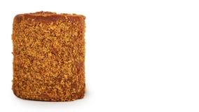 Wyśmienicie czekolada z dojnym Szwajcarskiej rolki tortem odizolowywającym na białym tle, dom zrobił deserowi odbitkowa przestrze Obrazy Stock