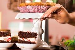 Wyśmienicie czekoladowego torta kawałki z kremowym podsadzkowym obsiadaniem na małych talerzach, ręki mienia rozwidlenie chwyta k Zdjęcie Royalty Free