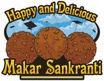 Wyśmienicie Do Laddu deserów gotowych dla indianina Makar Sankranti świętowania, Wektorowa ilustracja ilustracja wektor