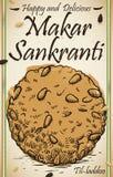 Wyśmienicie Do Laddu remisu z Sezamowymi ziarnami dla Makar Sankranti, Wektorowa ilustracja royalty ilustracja