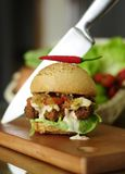 Wyśmienicie domowej roboty kurczak bryłek hamburger Obrazy Royalty Free