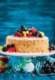 Wyśmienicie domowej roboty miodowy tort dekorował z świeżymi owoc obraz stock